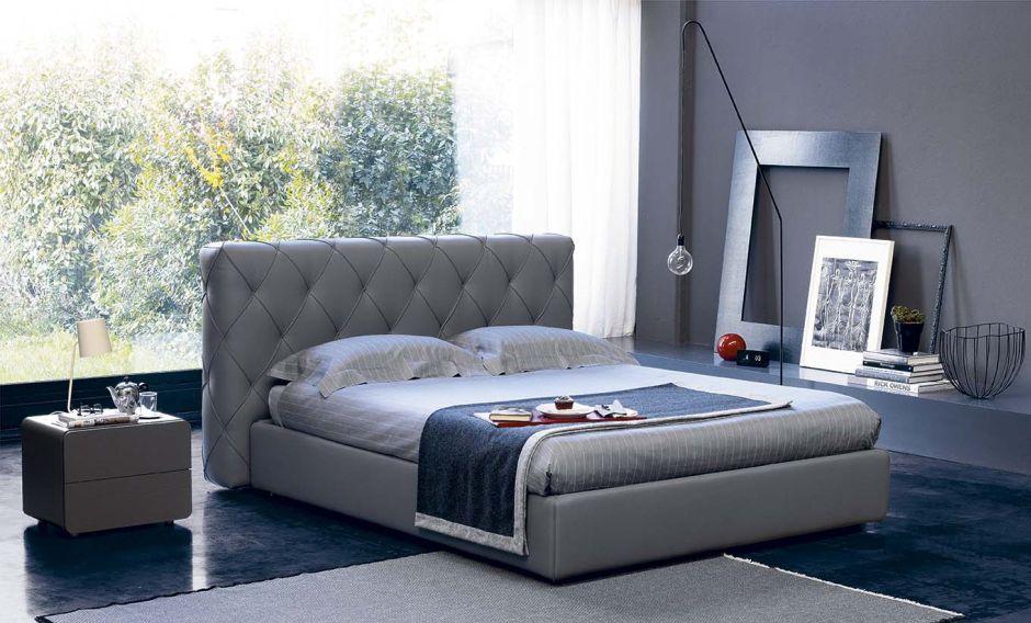 Letto Matrimoniale Pelle Grigio.Contemporary Bedside Table Leather Rectangular Giove Orme