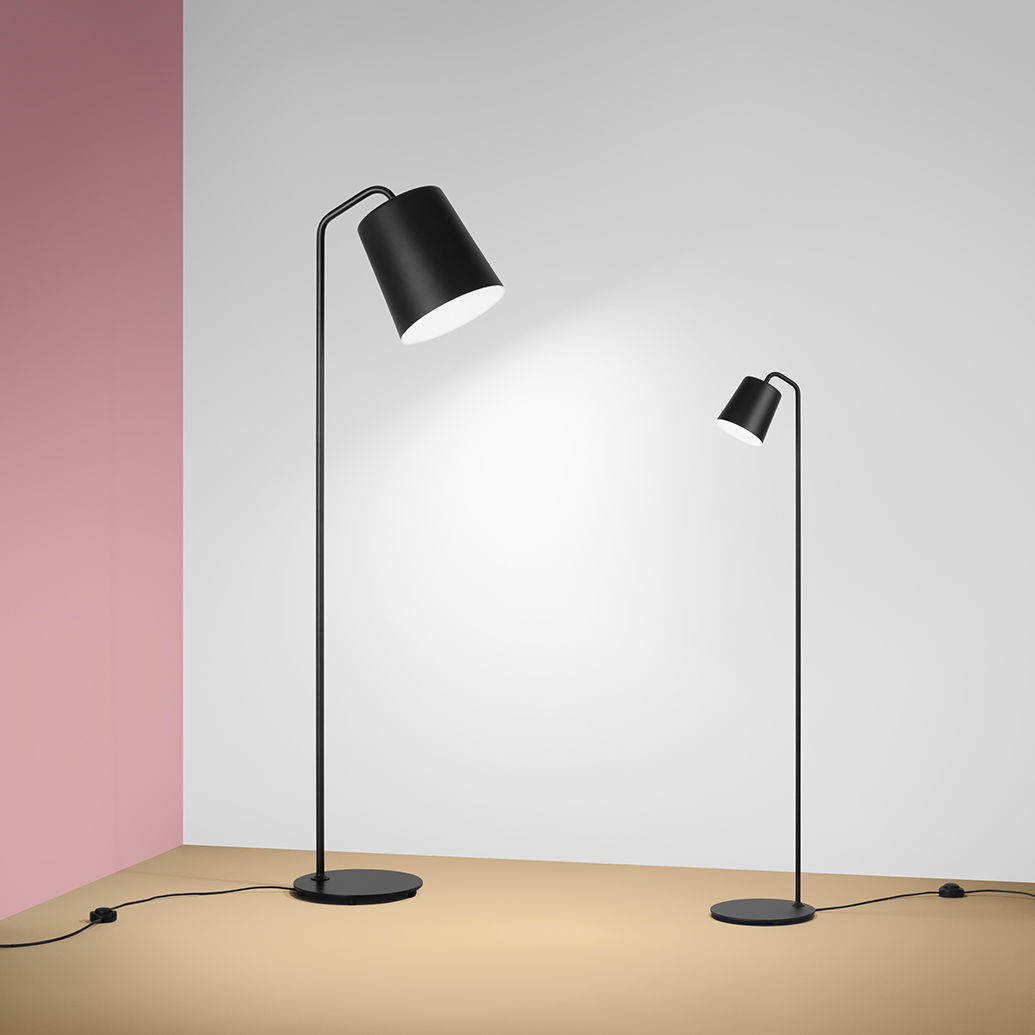 Floor Standing Lamp Contemporary Steel Painted Hide Large By Thomas Bernstrand