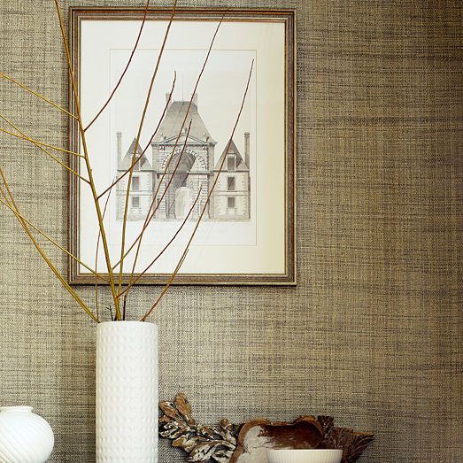 Contemporary Wallpaper Plain Fabric Look Grasscloth Resource