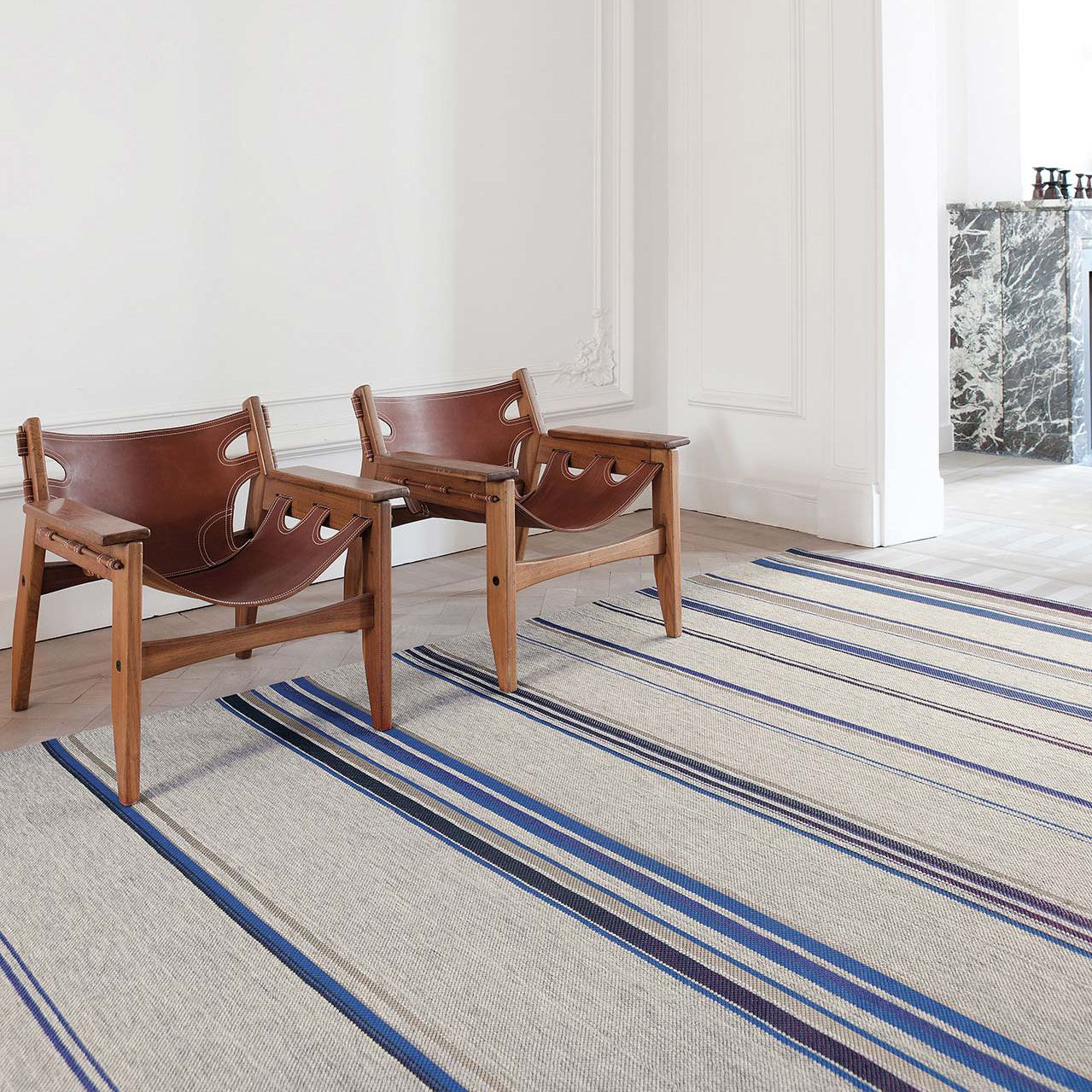 Contemporary Rug Striped Wool Polyester Tribu