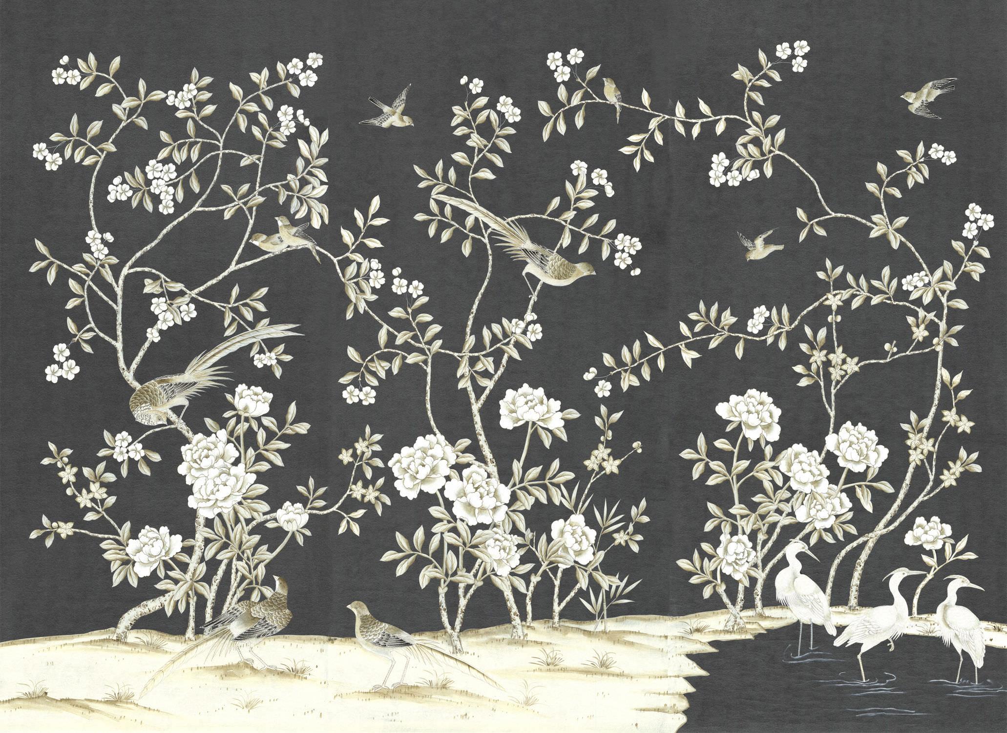 Traditional Wallpaper Fl Chinoiserie Handmade