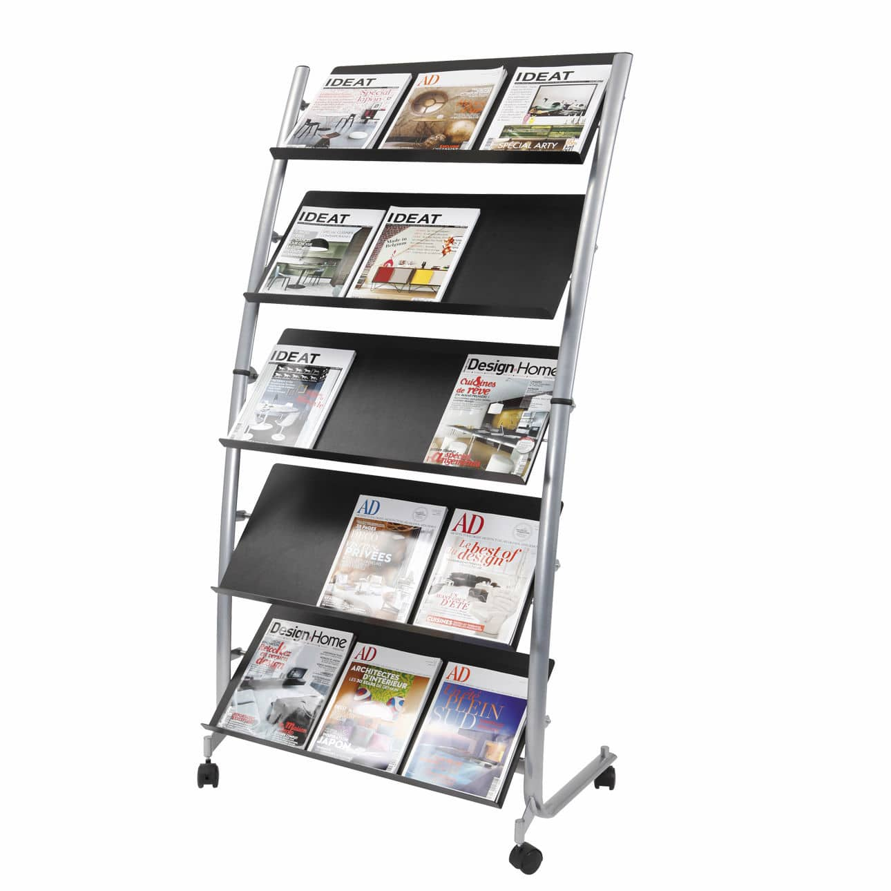 Periodicals Display Rack Plastic Metal On Casters Dd5gm