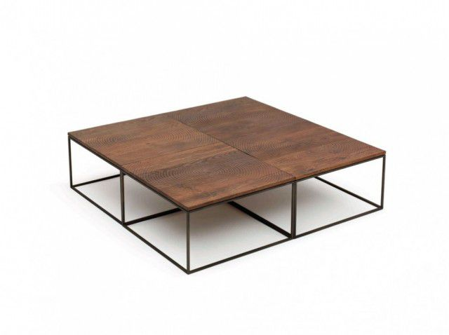 Contemporary Coffee Table Wooden Metal Square