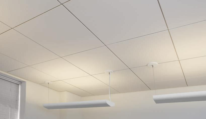 Plaster suspended ceiling tile acoustic for clean rooms