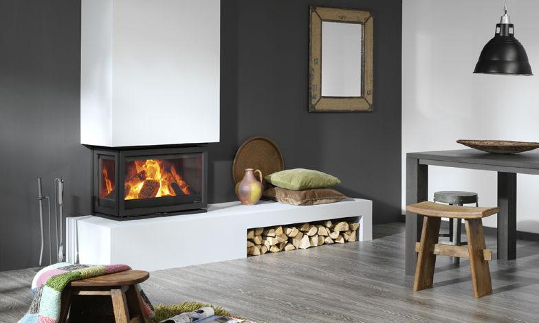 Wood Burning Fireplace Insert 3 Sided Double Corner