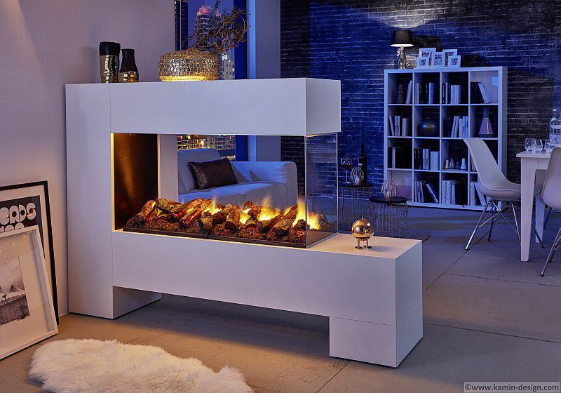 Electric Fireplace Contemporary Open Hearth Double Sided
