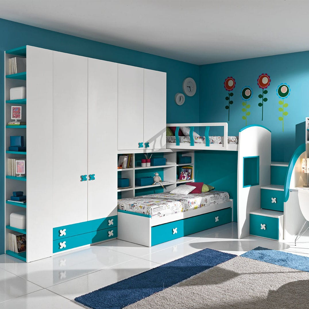 White children\'s bedroom furniture set / blue / wooden ...