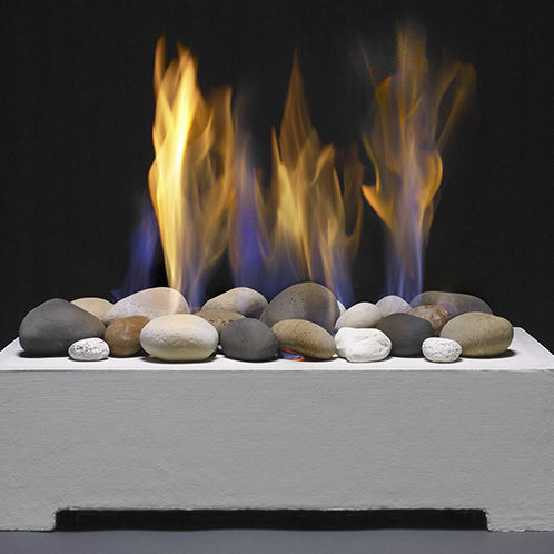 Natural Gas Fireplace Contemporary Open Hearth Free Standing Stones Vent