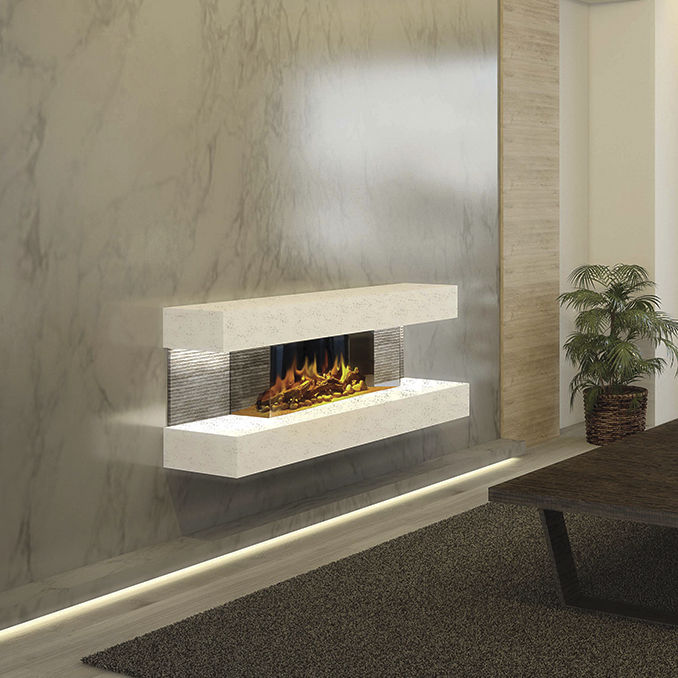 Electric Fireplace Contemporary Open Hearth 3 Sided