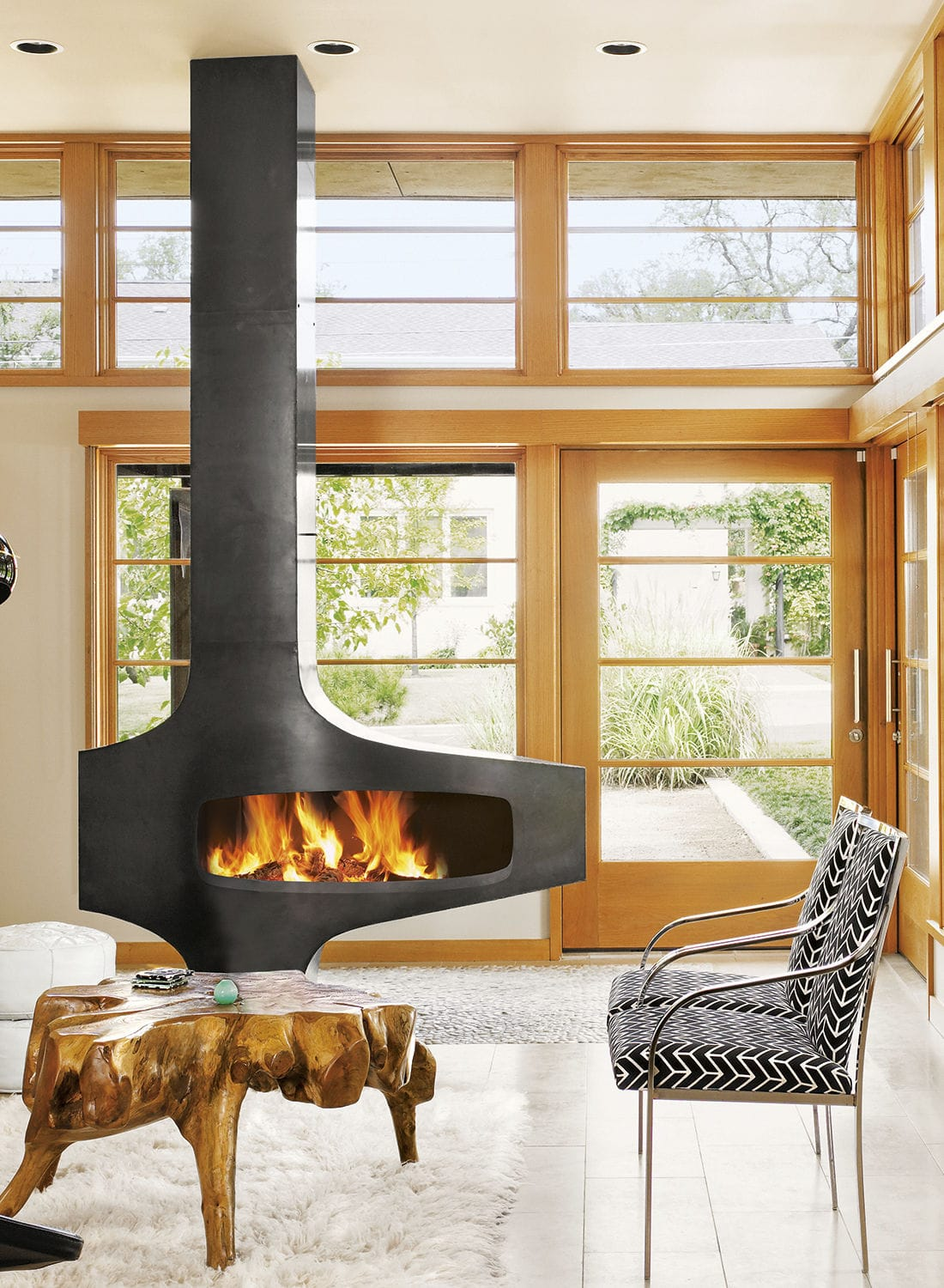 Wood Burning Fireplace Heterofocus 1400 European Home Contemporary Open Hearth Floor Mounted