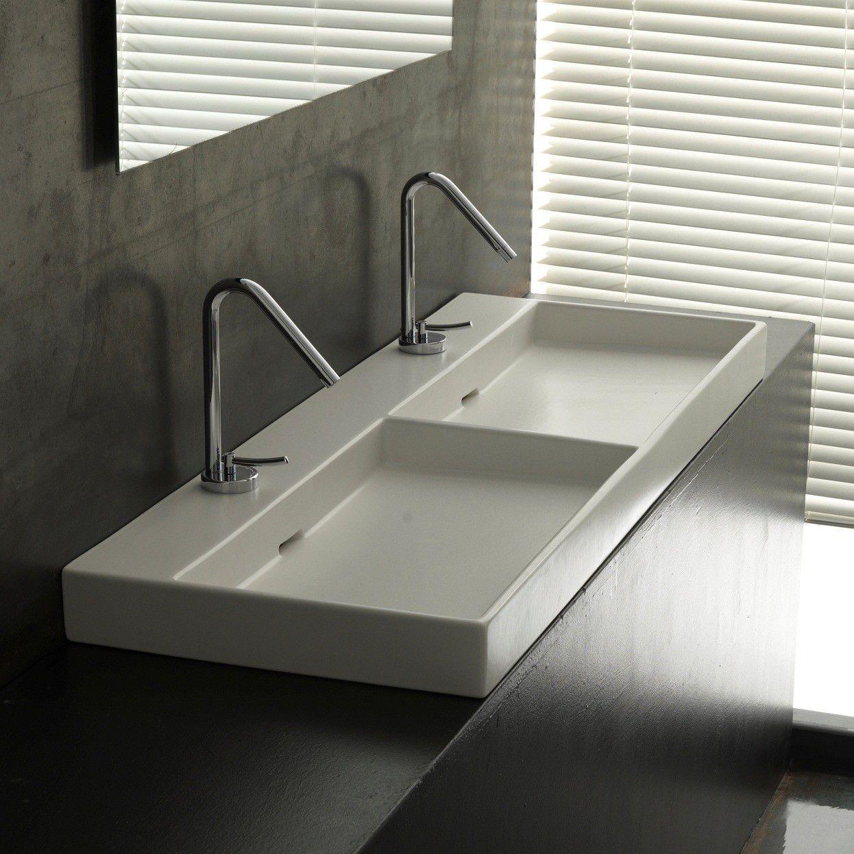 Lavabo Urban.Double Washbasin Countertop Rectangular Ceramic