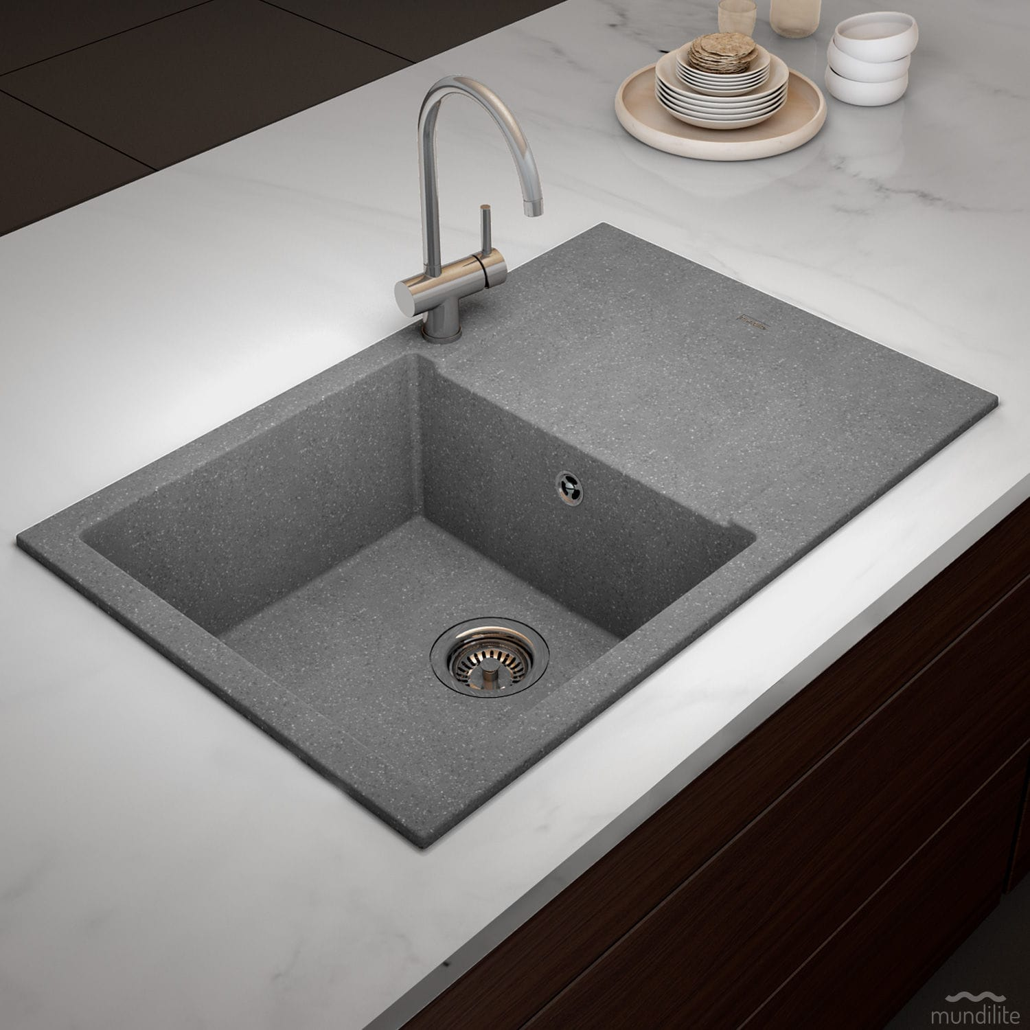 Single-bowl kitchen sink / composite / with drainboard ...