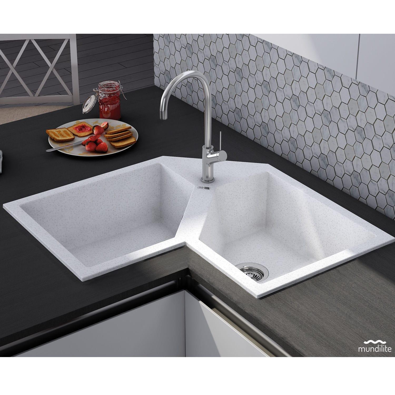 Double Kitchen Sink Supreme E830 Mundilite Composite Overmount Corner