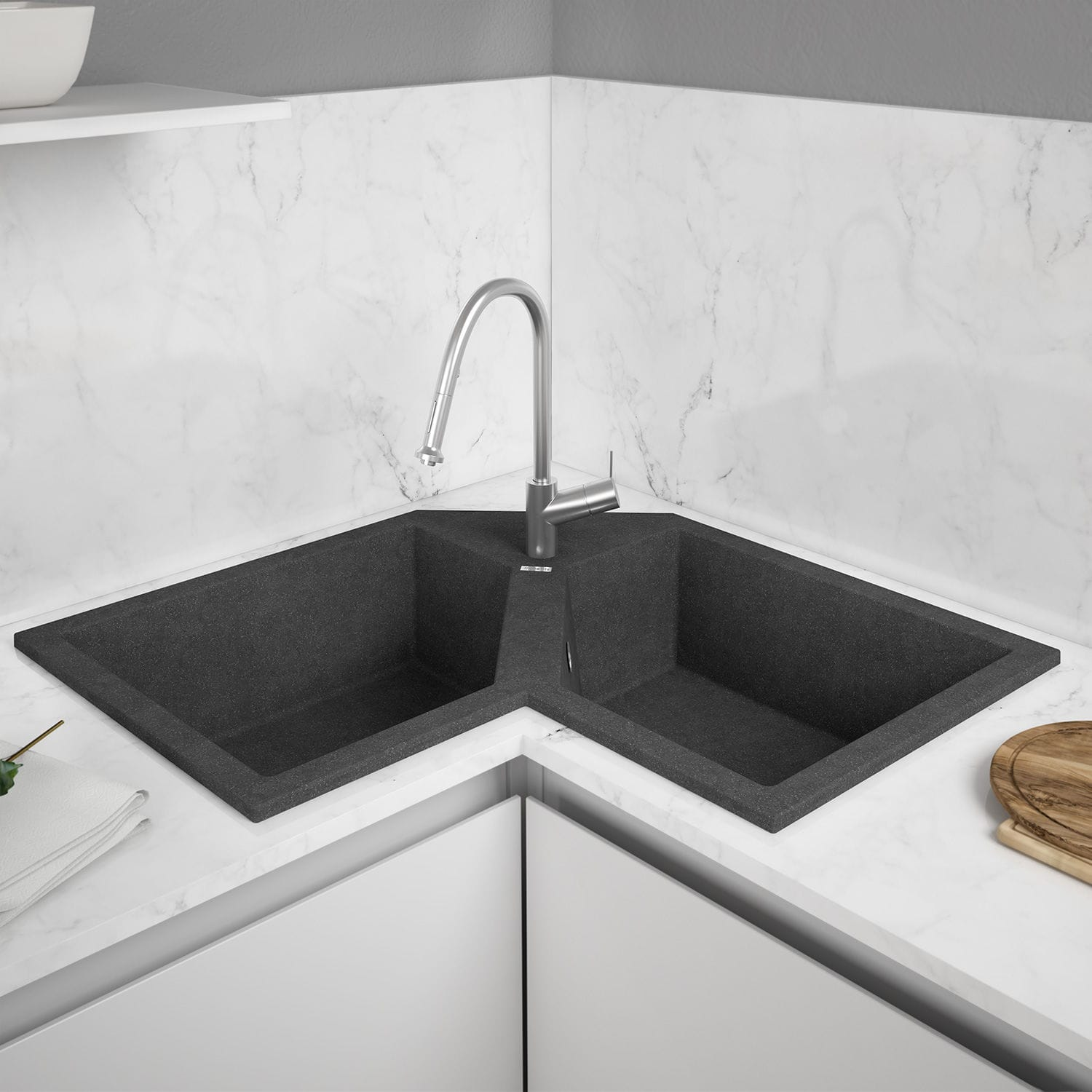 Double Kitchen Sink Supreme E830 Mundilite Composite Overmount Corner