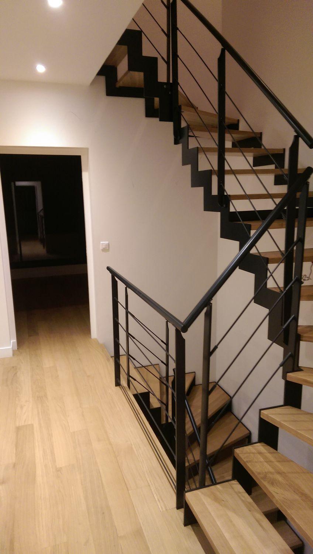 Escalier Bois Metal Noir half-turn staircase / metal frame / steel frame / wooden