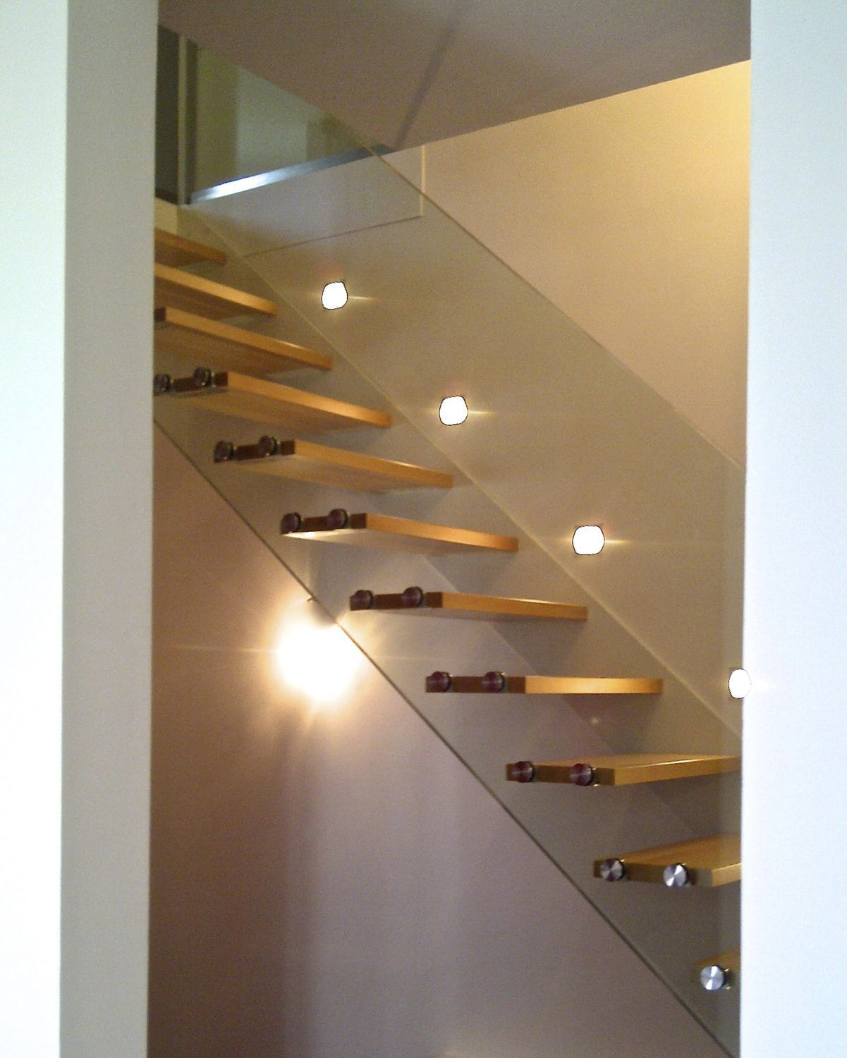 Garde Corps Metal Design straight staircase / quarter-turn / steel frame / glass
