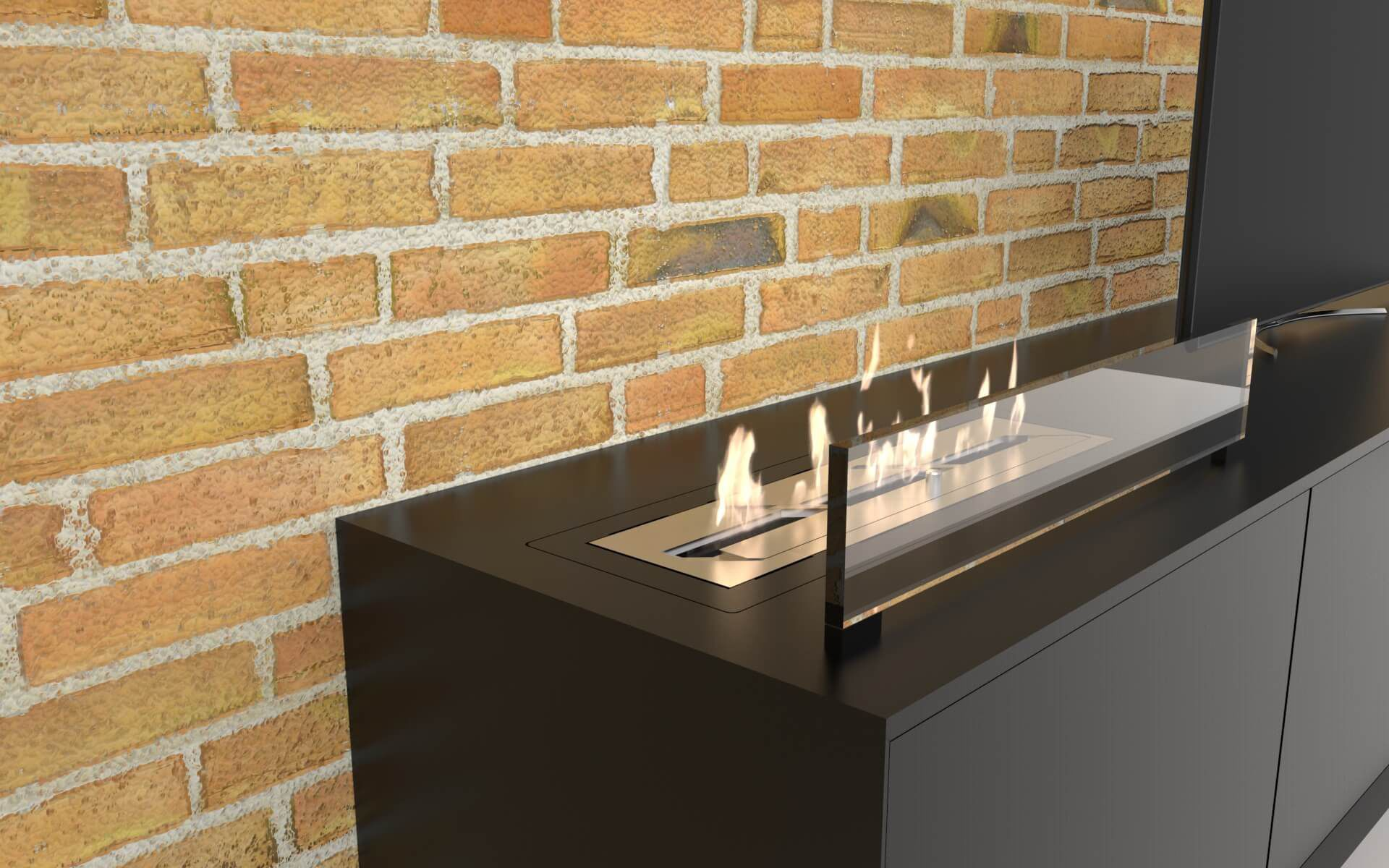 Bioethanol Fireplace Contemporary Open Hearth 3 Sided Clic Decoflame