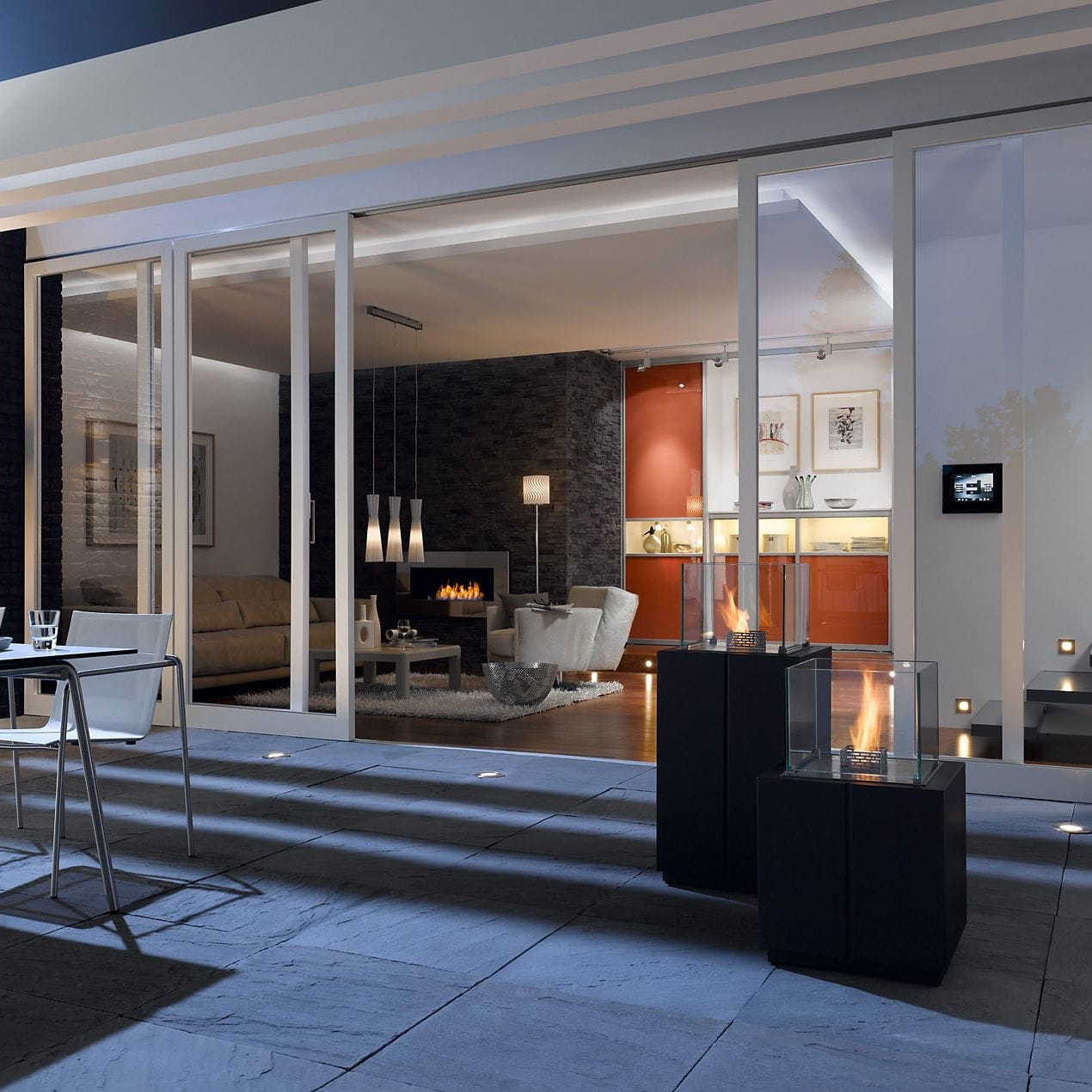 Bioethanol Fireplace Monaco Square Tower Decoflame Contemporary Open Hearth Central