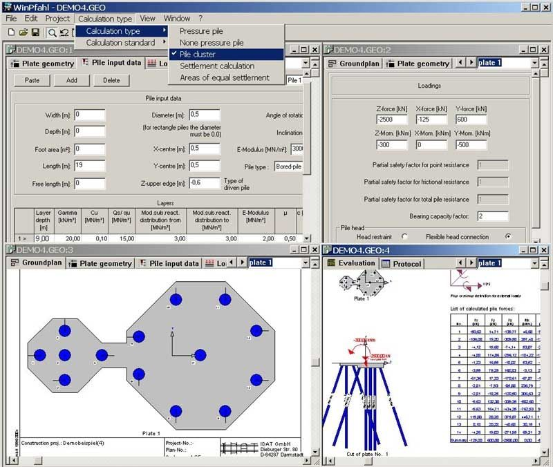 Special foundation calculation software / for concrete structures