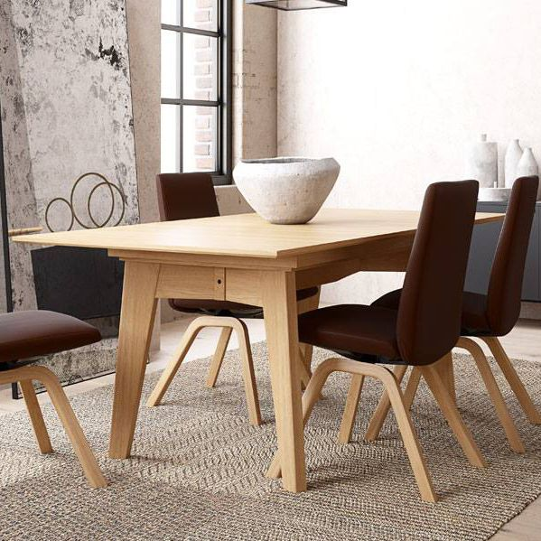 Contemporary Dining Table Wooden Rectangular Extending