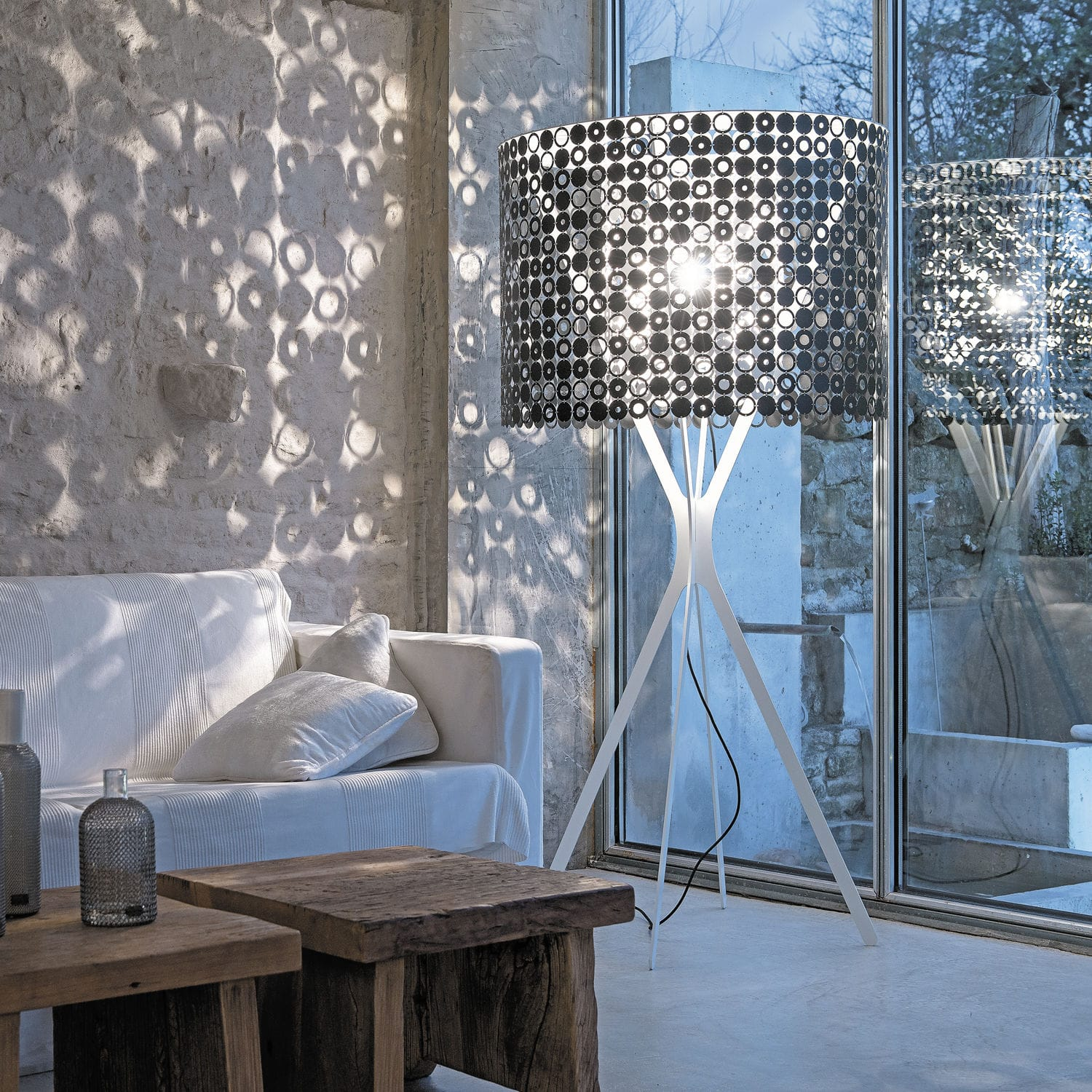 Floor Standing Lamp Contemporary Stainless Steel Lacquered Steel