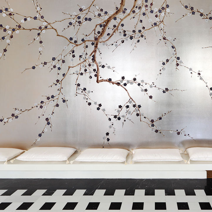 Traditional Wallpaper Fl Fabric Look Hand Painted Plum Blossom