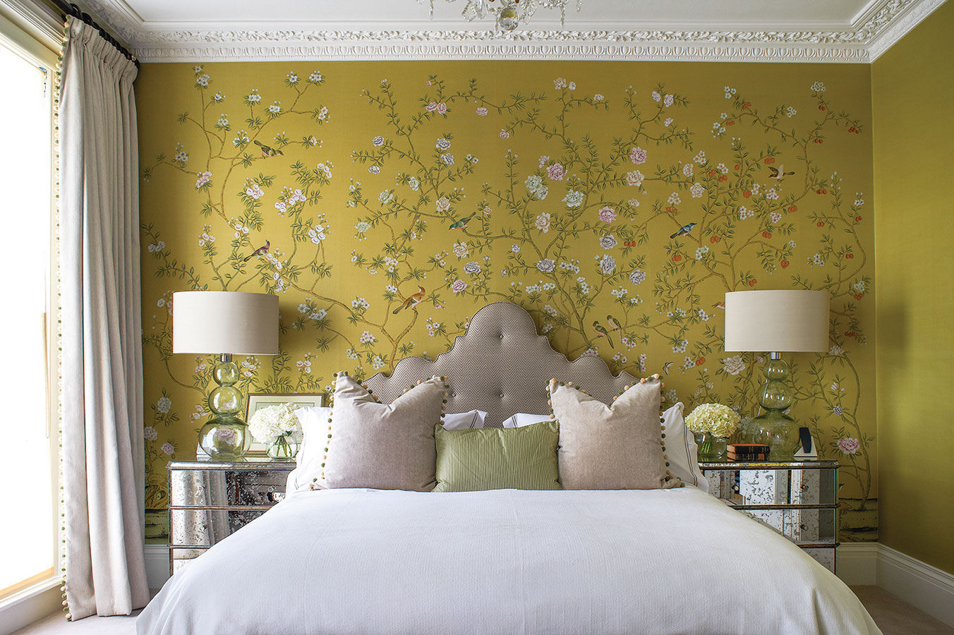 Traditional Wallpaper Fl Chinoiserie Fabric Look