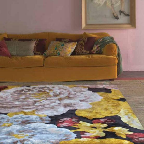 Contemporary Rug Floral Pattern Wool Silk Boheme Ivanovo