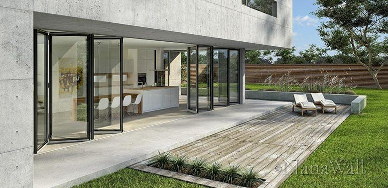 Sliding and stacking patio door / folding / aluminum
