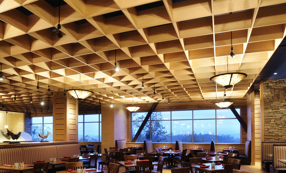 Wooden Suspended Ceiling Panel Wire Cubes