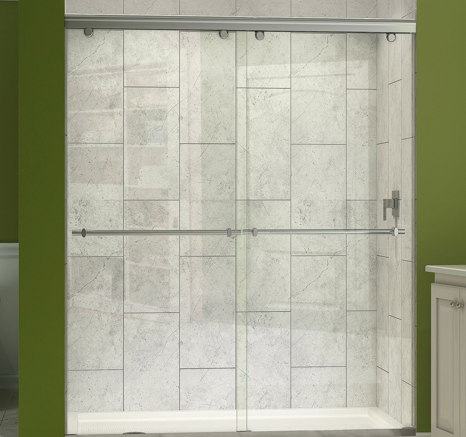 Tempered Glass Shower For Alcoves With Sliding Door