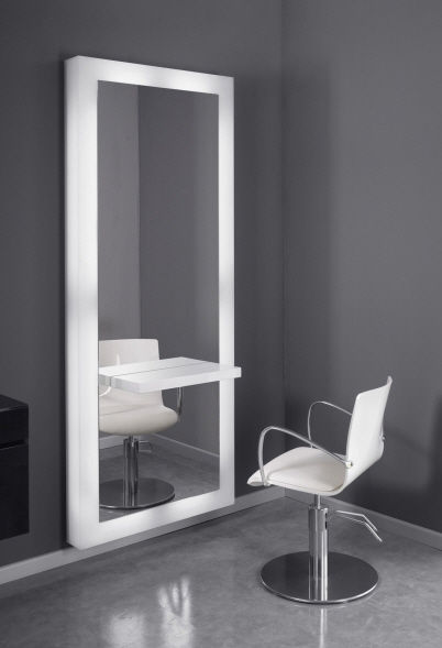 Contemporary Dressing Table Plexiglas Wall Mounted For Hairdressers White Mirror