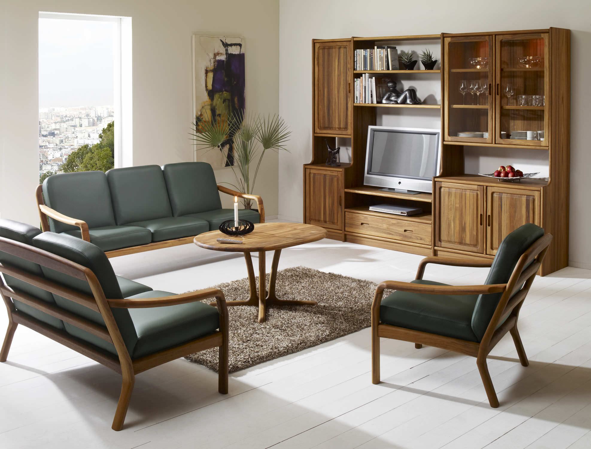 Contemporary sofa / wooden / 3-seater / green - 1260 - dyrlund