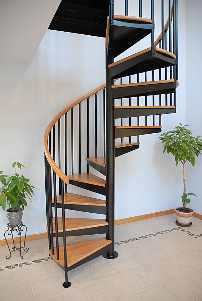 Spiral Staircase Stainless Steel Frame Wooden Steps Without Risers S 01a