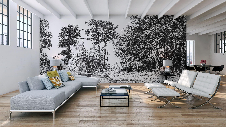 Papier Peint Panoramique Noir Et Blanc original design wallpaper / panoramic / non-woven - d239