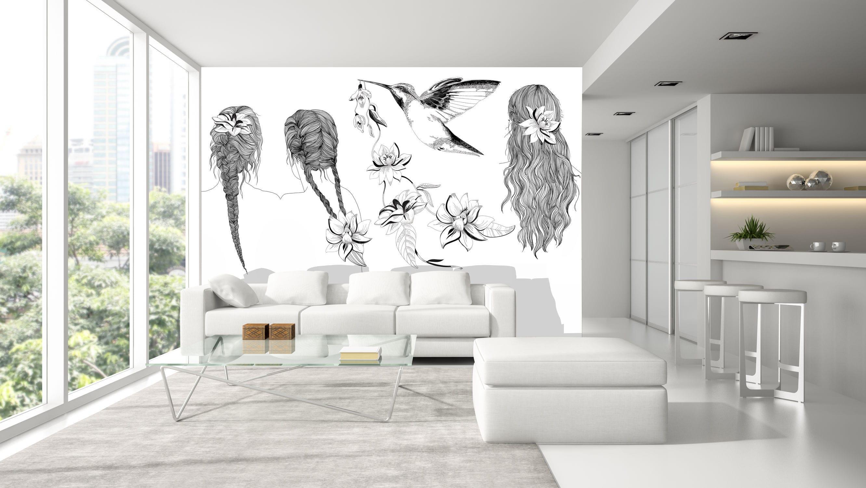 Photo Noir Et Blanc Design original design wallpaper / panoramic / non-woven - d247b