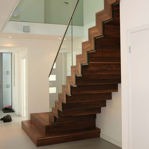 Straight Staircase Steel Frame Wooden Steps With Risers