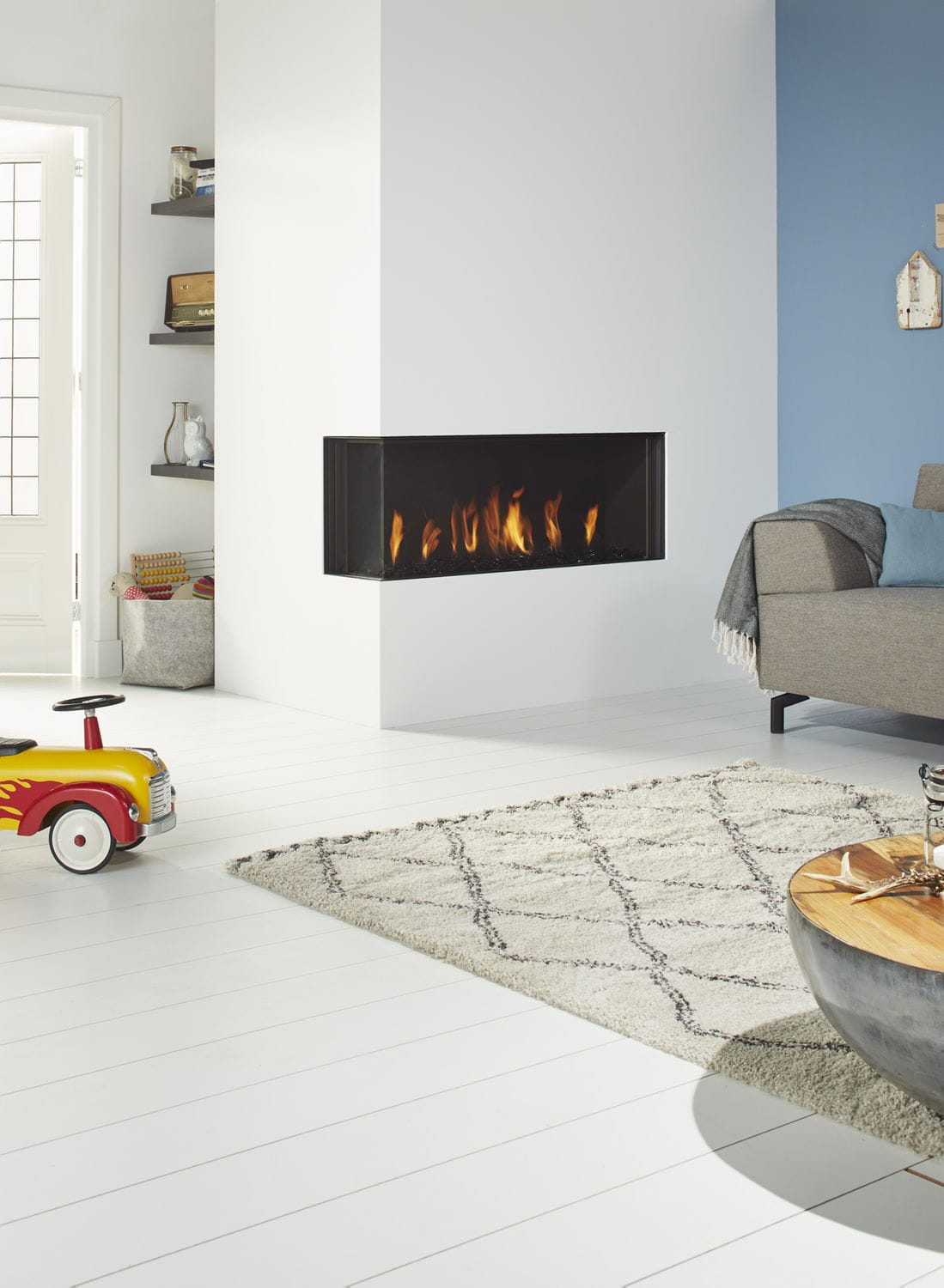 Gas Fireplace Contemporary Closed Hearth 2 Sided Global