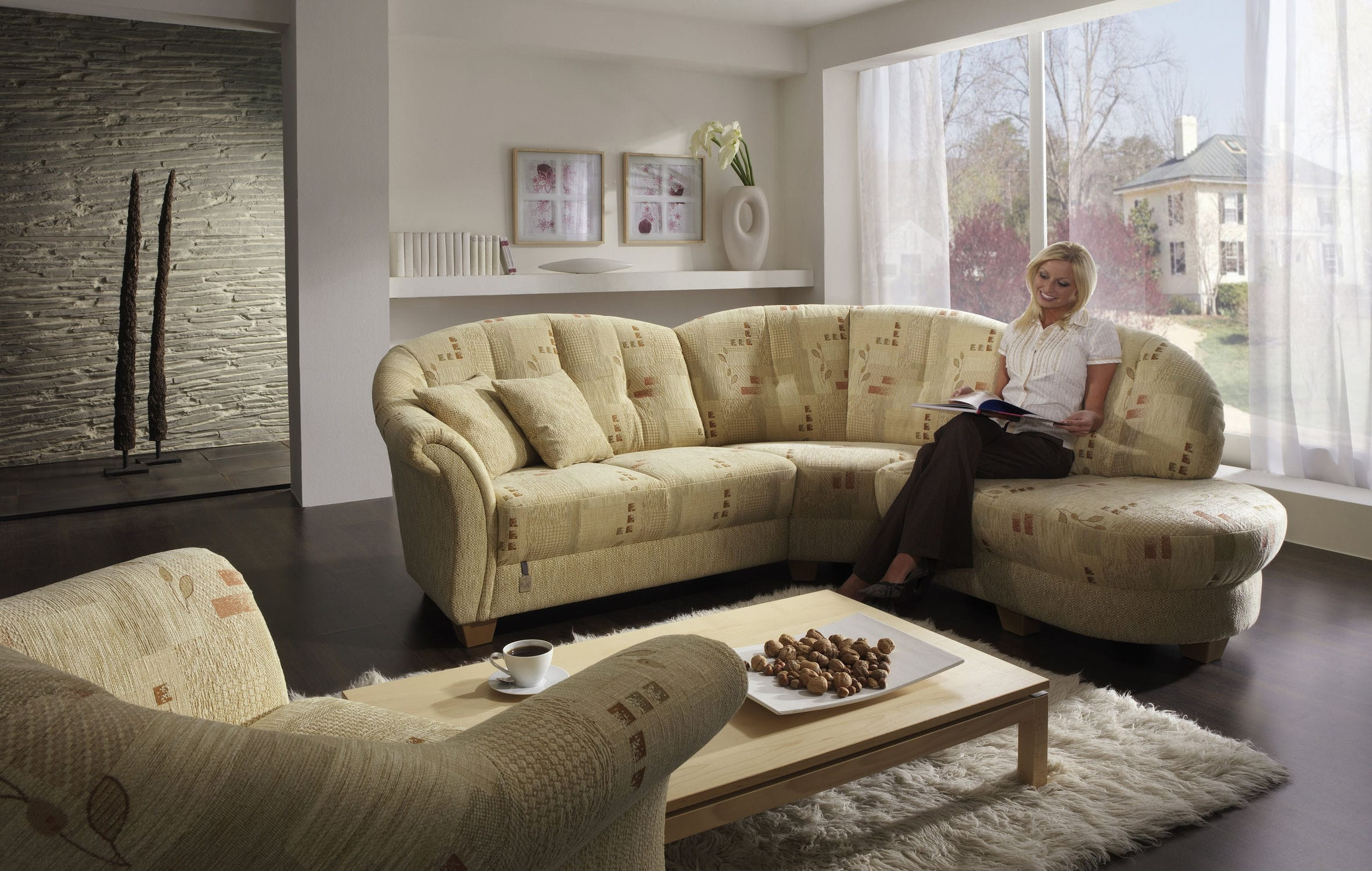 Modular sofa traditional leather fabric CHALET SIGMA S L