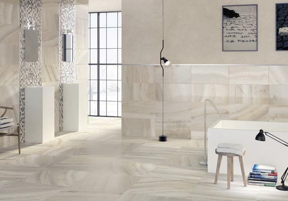 Bathroom Tile Floor Porcelain Stoneware Polished Riverland White