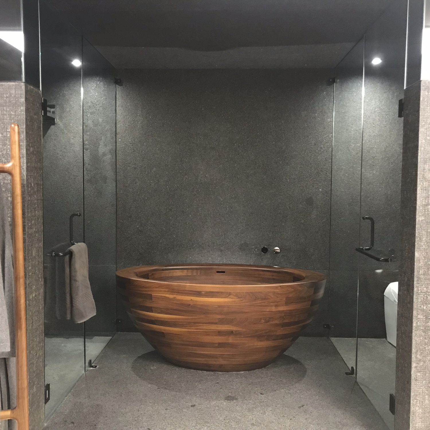 Free Standing Bathtub Baula Unique Wood Design Oval Wooden
