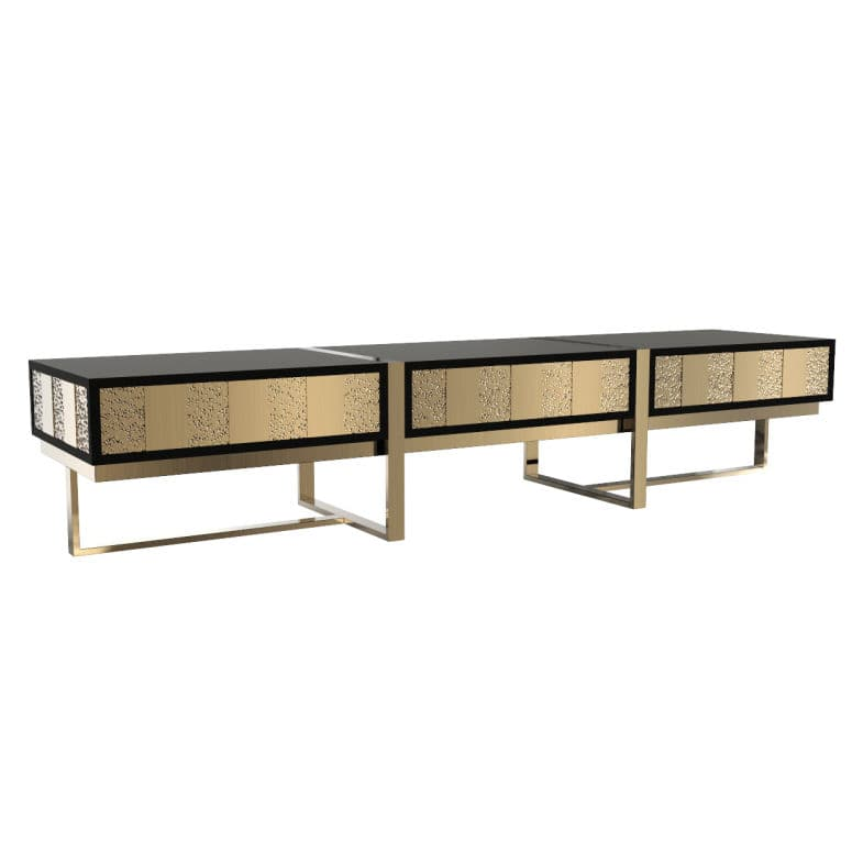 Contemporary Tv Cabinet Low Gold Plated Brass Mondrian Tv