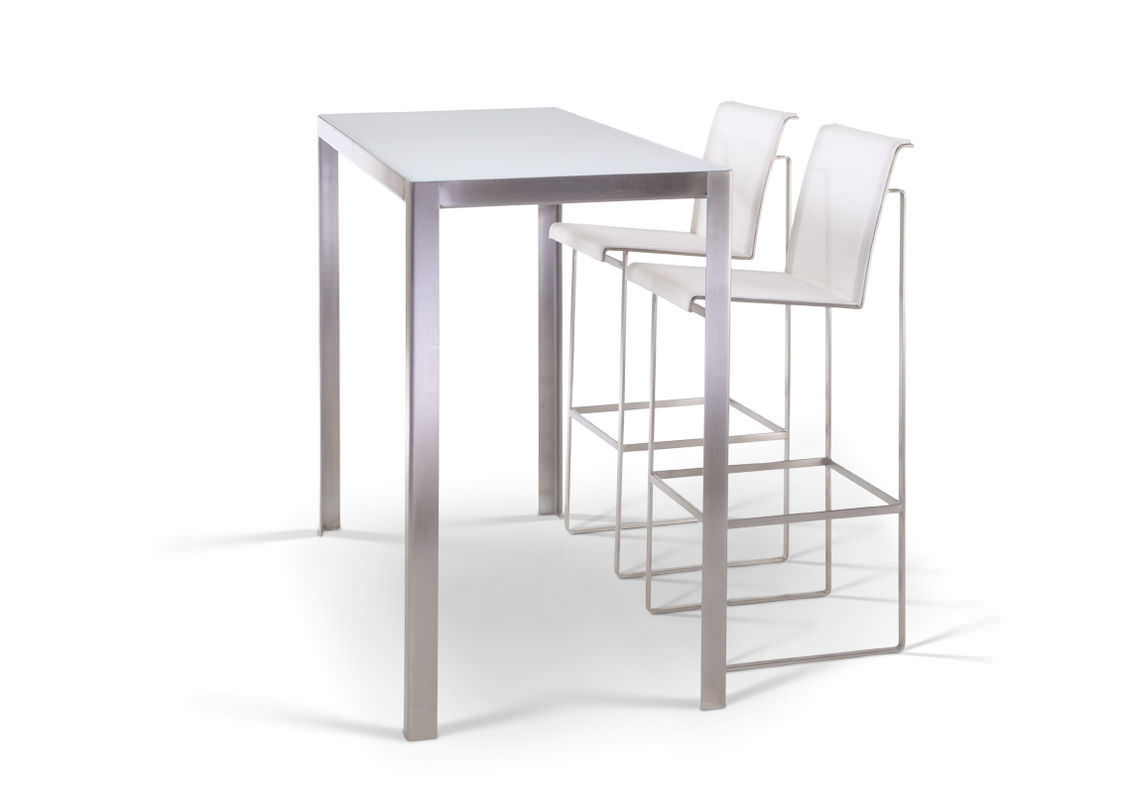 Contemporary High Bar Table Gl Metal Stone