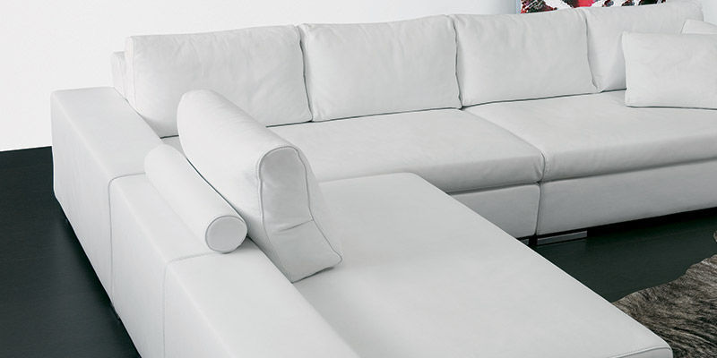 Modular Sofa Contemporary Leather White Roger Respace