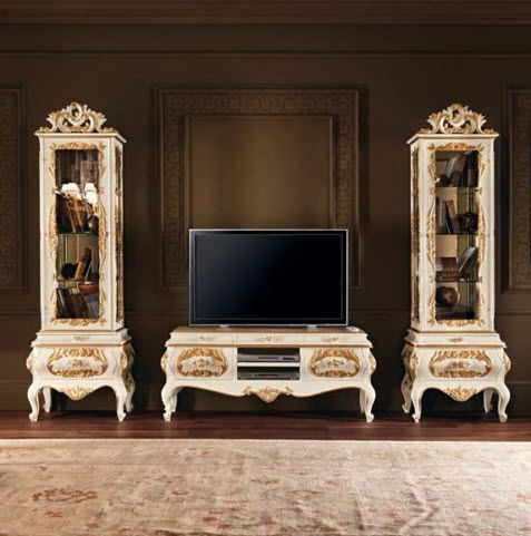 Classic Living Room Wall Unit Villa Venezia Modenese Interiors Luxury Furniture Painted Wood
