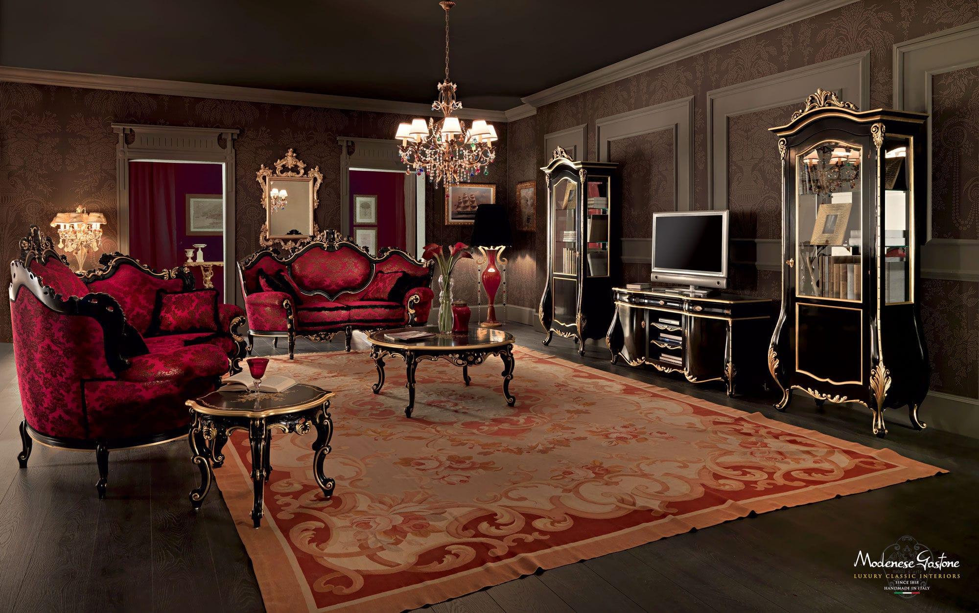 Classic living room wall unit / painted wood - VILLA VENEZIA ...