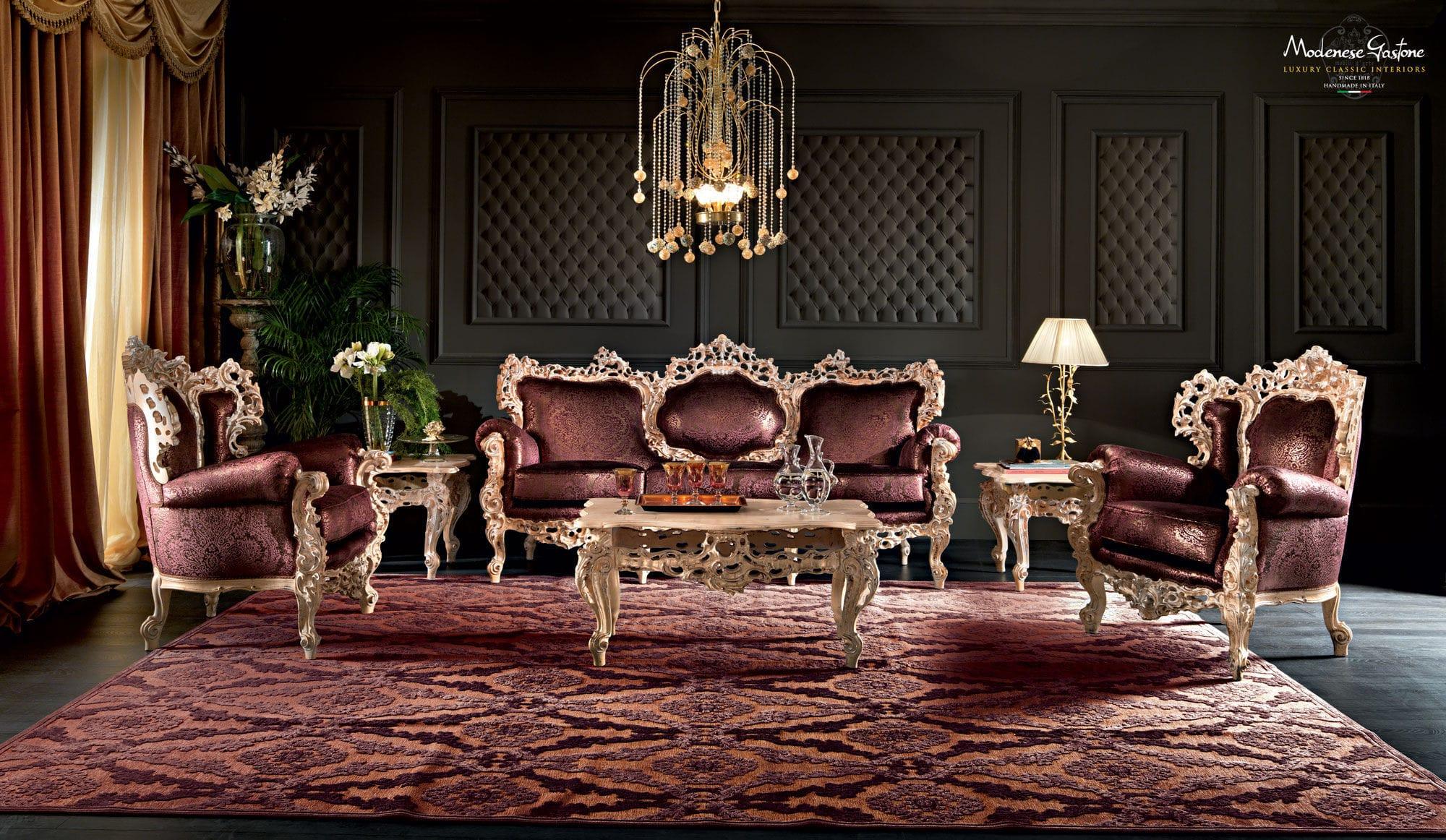 Classic sofa fabric 3 seater brown VILLA VENEZIA