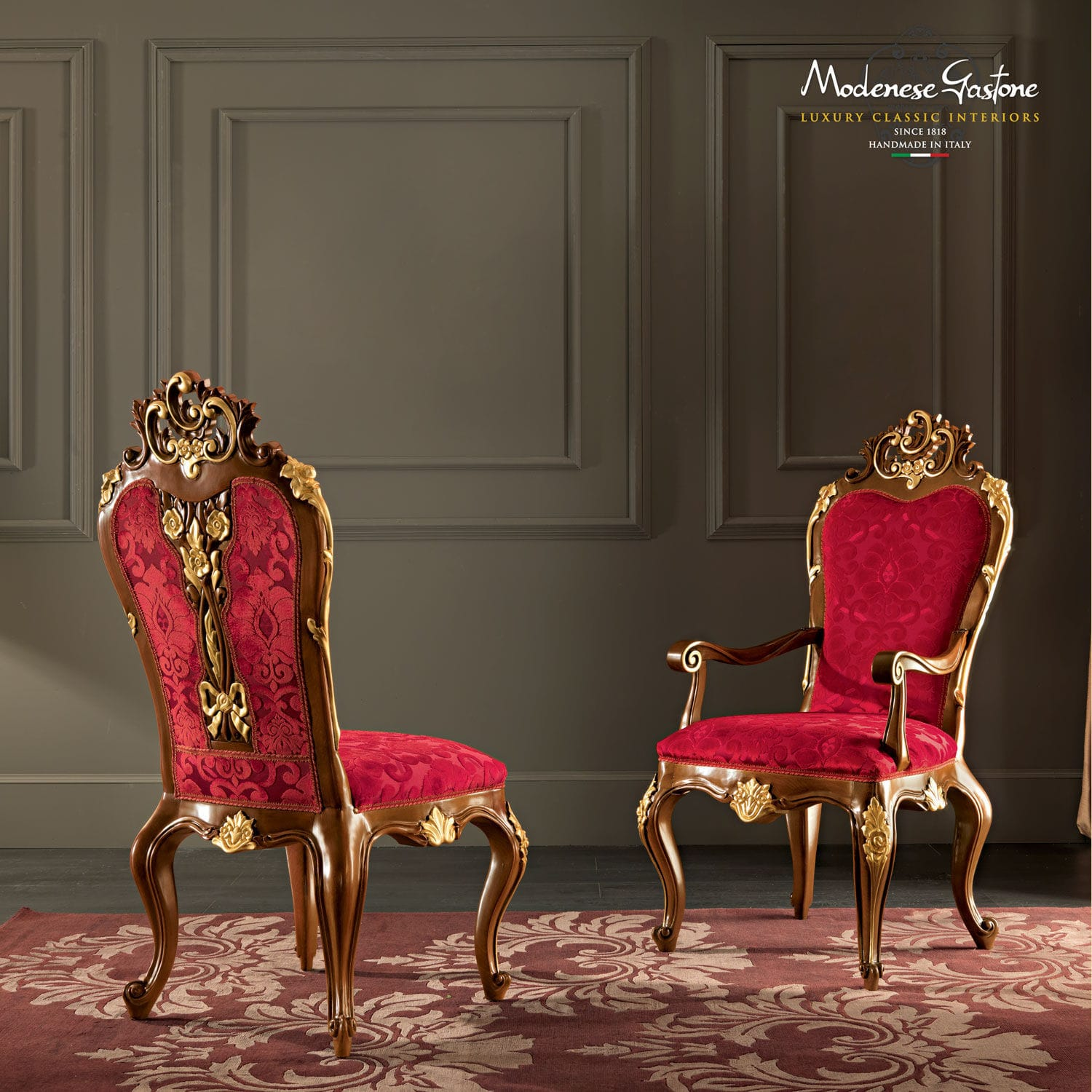 Brilliant Classic Armchair Velvet Villa Venezia 11501 Modenese Machost Co Dining Chair Design Ideas Machostcouk