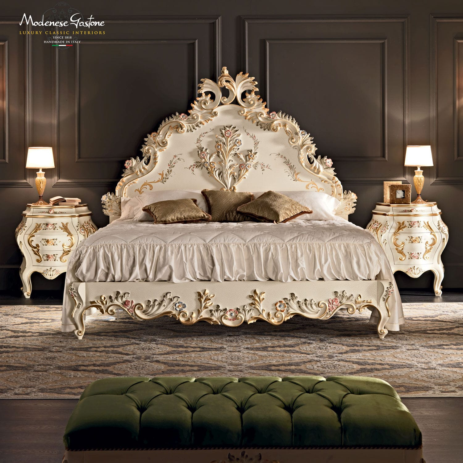 . Double bed   classic   with upholstered headboard   solid wood