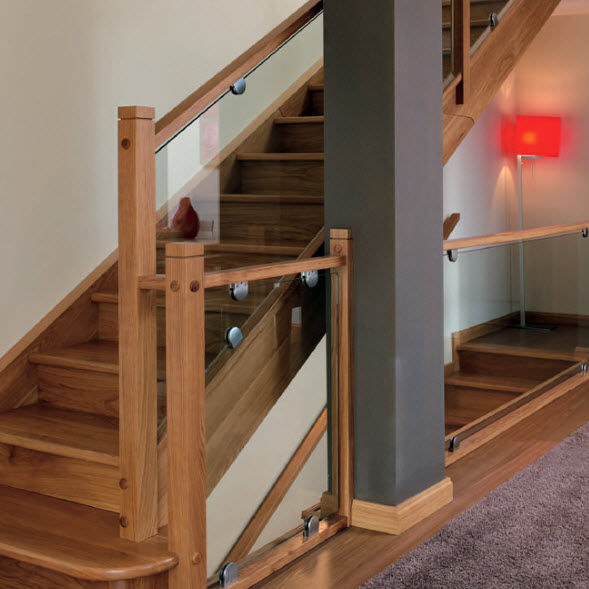 Wooden Railing Gl Panel Indoor For Stairs Garnacha
